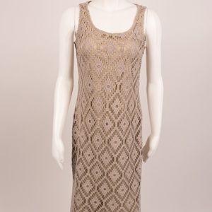 Chico's Maxi Dress Crochet Cassandra Durum Wheat